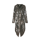 Sweat-Mantel mit Kapuze und Print, khaki