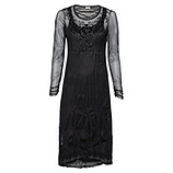Zweiteiliges Crash-Kleid aus besticktem Tüll, schwarz