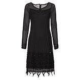 Kleid mit besticktem Tüll und Spitze, schwarz