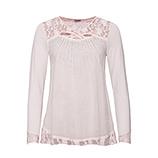 Shirt mit Spitze und Glitzersteinchen, rosenholz