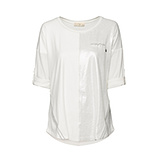 Basic Shirt mit Wildleder-Optik, offwhite
