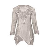 Bluse mit Netz und Häkelspitze, marmor