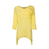 Basic Shirt mit Häkelspitze, lemon