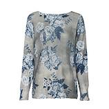 Leichter Strick-Pullover im floralen Design, khaki