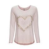 Shirt mit Perlen-Herz, rosenholz