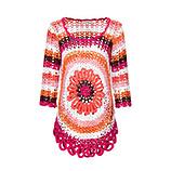 Pullover mit kreisförmigem Strickmuster, koralle
