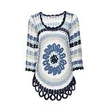 Pullover mit kreisförmigem Strickmuster, jeansblau