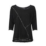 Basic Shirt mit Glitzersteinen, schwarz
