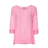 Basic Shirt mit Häkelspitze, neonpink