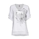 Shirt mit metallic-Print, weiss