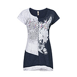 Shirt mit Frontprint, navy-melange
