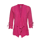Offene Jacke mit floraler Stickerei, pinkberry stonewashed