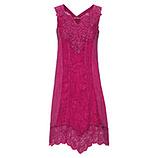 Kleid mit Leinen und Häkelspitze, pinkberry