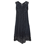 Crash-Kleid mit Leinen und Häkelspitze, night