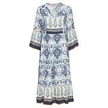 Maxi-Kleid im Alloverprint, weiß-blau