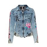 Jeansjacke mit bunten Patches, light blue