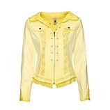 Jeansjacke mit Spitze und Leinen, lemon