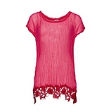 Gepunktete Crash-Bluse mit Viskose, hot pink