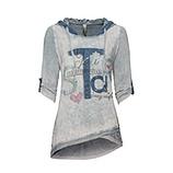 Kapuzenshirt aus Baumwolle und Viskose, silber stonewashed