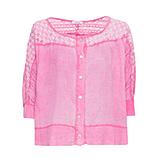 Bluse mit Lochstruktur, pink glow