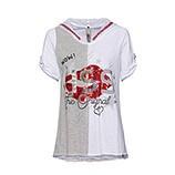 Shirt mit abtrennbarer Kapuze, weiß-melange