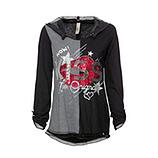 Shirt mit abtrennbarer Kapuze, schwarz-anthra