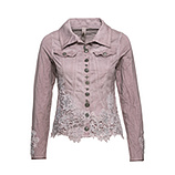 Jeansjacke mit Blüten-Applikationen, dustyrose