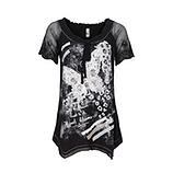 Shirt mit Schmetterlings-Design, schwarz