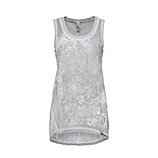 Top mit Front-Print, silber