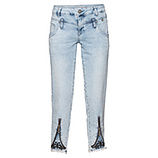 Sweat- Jeans mit dekorativem Reißverschluss 64cm, bleached
