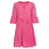 Kleid in Lochstruktur, pink glow