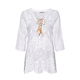 Bluse in Loch-Optik, offwhite