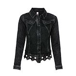 Jeansjacke mit Leder-Spitzen Optik, black denim