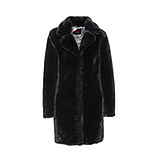 Fake Fur-Jacke mit Animal-Optik, schwarz