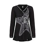Shirt mit Stern-Design, schwarz