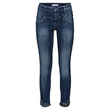 Sweat-Jeans mit abgerundetem Saum 70cm, dark blue crashed