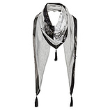 Schal mit Patches, grau-melange und schwarz