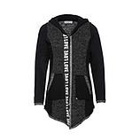 Sweat-Jacke mit Zierstreifen, schwarz