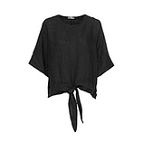 Bluse aus Leinen, schwarz