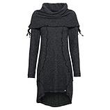 Strick-Kleid mit großem Kragen, grau