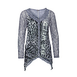 Crash-Bluse in Animal-Optik, grau