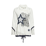 Sweat-Pullover mit Stern-Patch, offwhite
