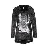 Kapuzen-Shirt mit Flügel-Print, schwarz
