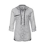 Baumwoll-Bluse mit Netz, silber