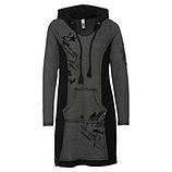 Kleid mit Samt-Print, anthra-schwarz