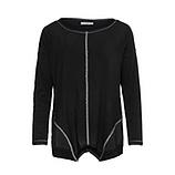 Basic Shirt mit Netz, schwarz