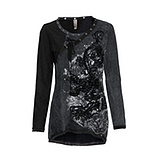 Shirt mit Samt-Flock, magnet-schwarz