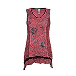 Crash-Top mit Print, cranberry
