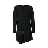 Long-Pullover mit Plissee, schwarz