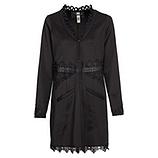 Mantel mit Leder-Bordüre, schwarz